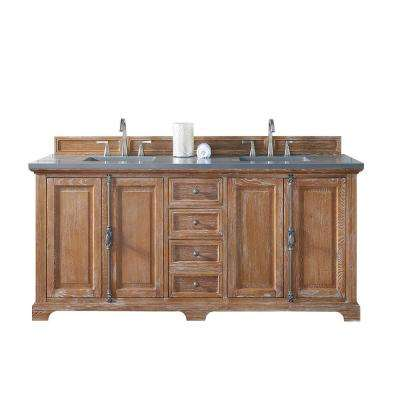 Providence 72 in. W Double Vanity in Driftwood with Quartz Vanity Top in Gray with White Basin