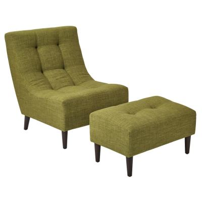 Hudson Green Fabric Chair with Ottoman and Espresso Legs