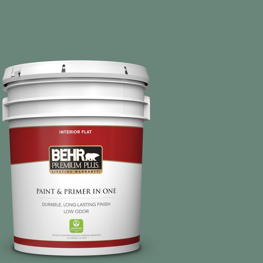 Reviews For Behr Premium Plus 5 Gal S420 5 Sycamore Grove Flat Low Odor Interior Paint And Primer In One 130005 The Home Depot