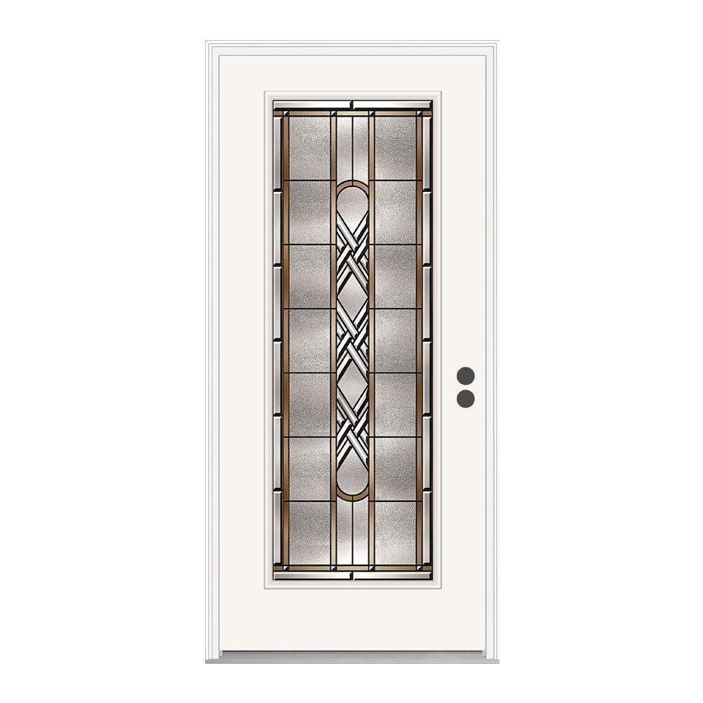 JELD-WEN 36 in. x 80 in. Ascot Full Lite Primed Premium Steel Prehung Front Door with Brickmould