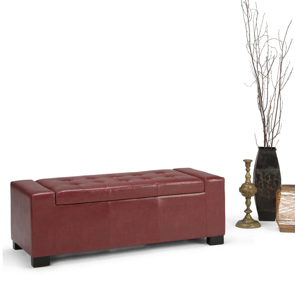 Simpli Home Laredo Radicchio Red Storage Bench-AXCOT-231