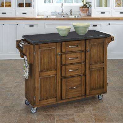 Create-a-Cart Warm Oak Kitchen Cart With Quartz Top