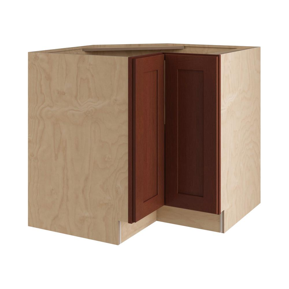 Home Decorators Collection Kingsbridge Assembled 33x34.5x24 in. Easy Reach Super Susan Hinge Right Base Kitchen Corner Cabinet in Cabernet