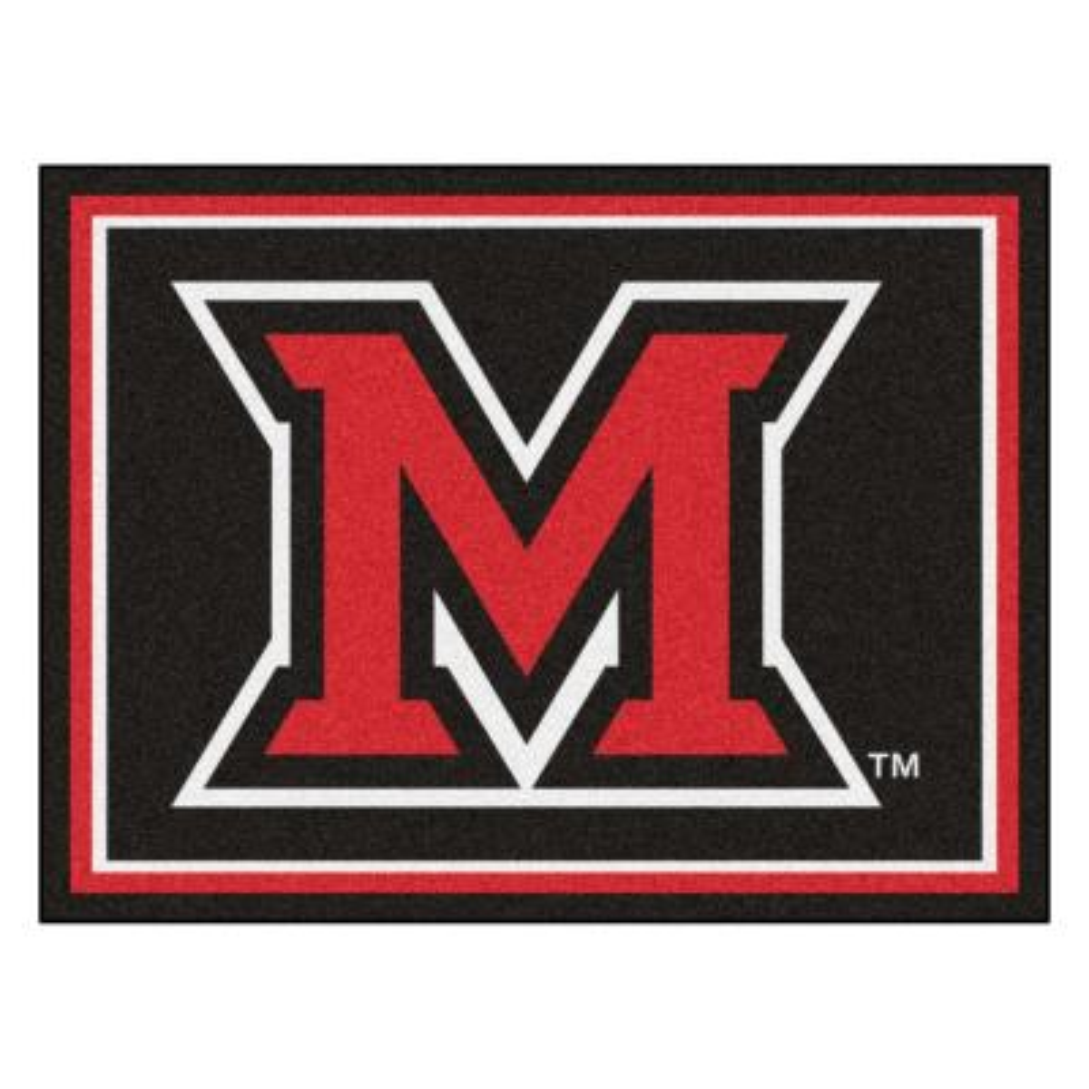 NCAA - Miami University (OH) Black 10 ft. x 8 ft. Indoor Rectangle Area Rug