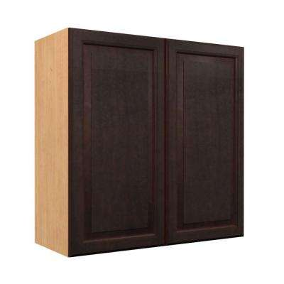 Ancona Ready to Assemble 24 x 30 x 12 in. Wall Cabinet with Frosted Pull-Down Shelves and 2 Soft Close Doors in Mocha