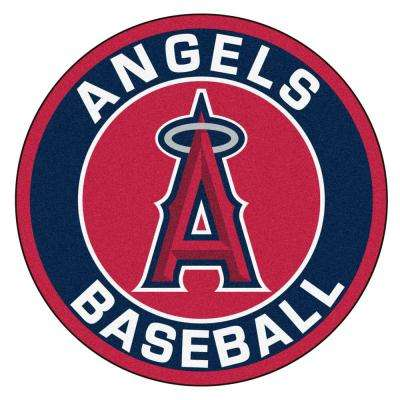 MLB Los Angeles Angels Navy 2 ft. 3 in. x 2 ft. 3 in. Round Accent Rug