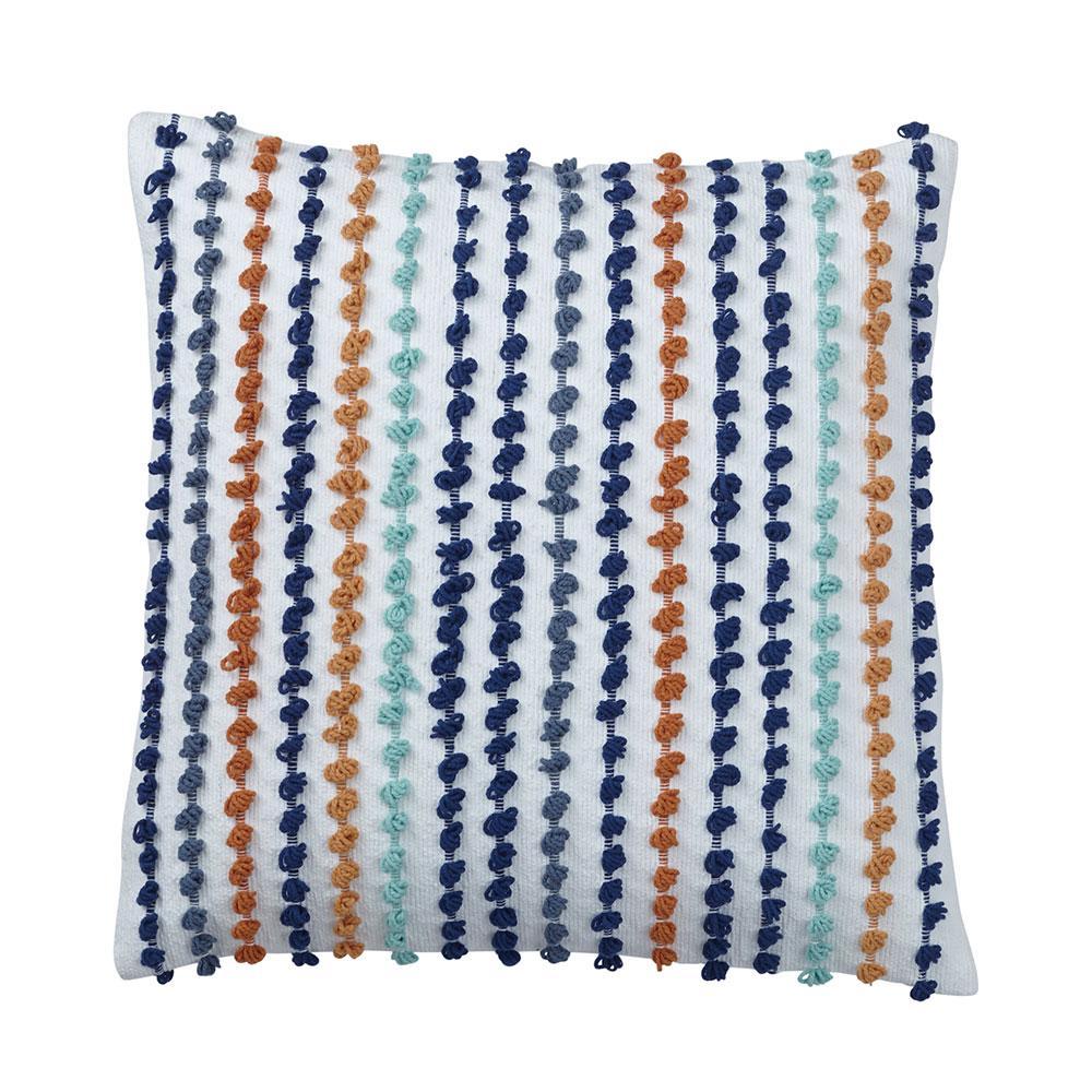 Carlotta 20 in. x 20 in. Stripe Blue Pillow Cover