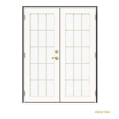 60 in. x 80 in. W-2500 Bronze Clad Wood Right-Hand 15 Lite French Patio Door w/White Paint Interior