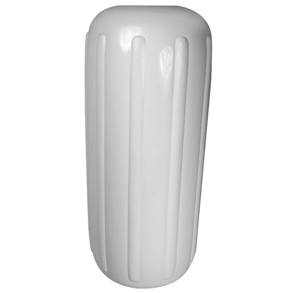 10 in. x 25 in. Center Hole Ribbed Fender, White