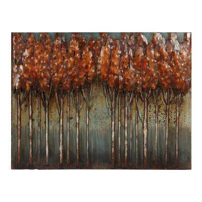"""30 in. x 40 in. """"Sunset Ground"""" Mixed Media Iron Hand Painted Dimensional Wall Art"""