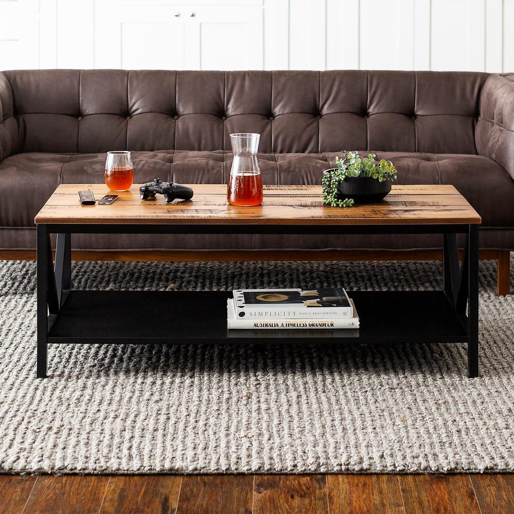 Reclaimed Barnwood/Black Distressed Farmhouse Coffee Table