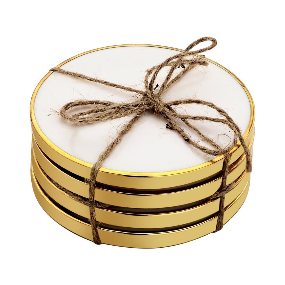 Hammered Brass 4-Pieces White Coaster Set