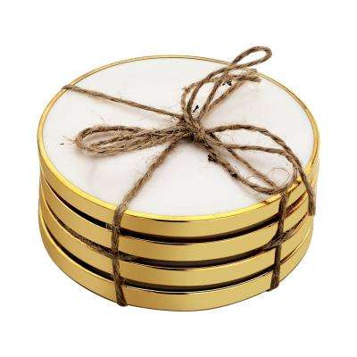 Hammered Brass 4-Pieces White Coaster Set