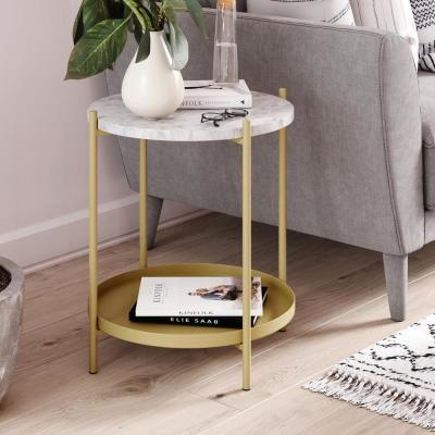 Alexis White Faux Marble with Gold Brass Metal Frame Round End Side Table