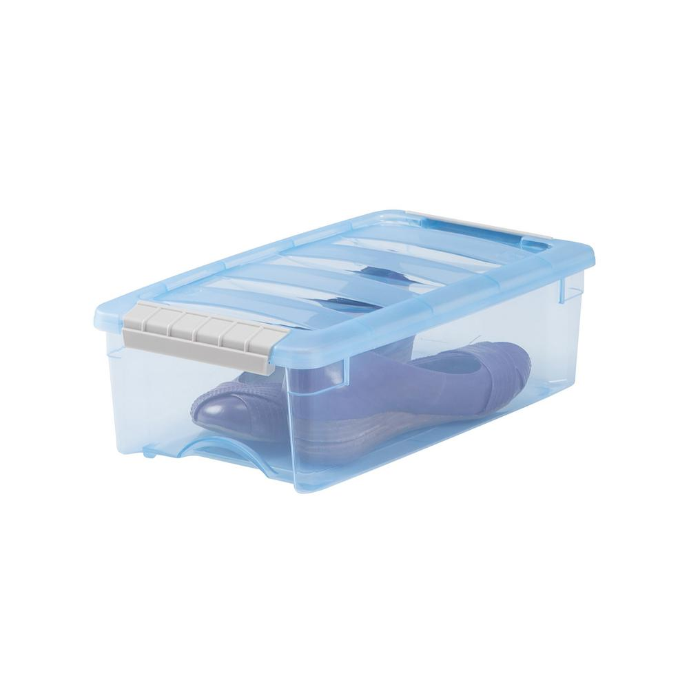 Iris 5 Qt Stack And Pull Storage Box In Trans Blue 10 Pack 585050
