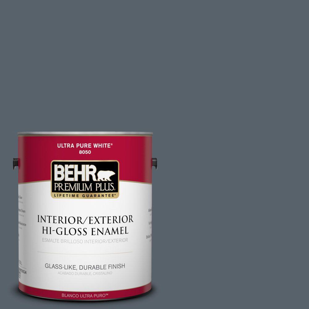 BEHR Premium Plus 1-gal. #N490-6 Calligraphy Hi-Gloss Enamel Interior/Exterior Paint