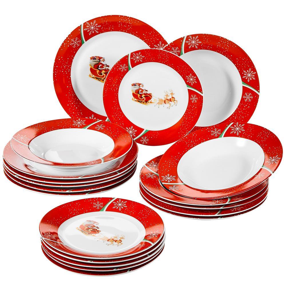 18-Piece Holiday Christmas Deer Pattern Porcelain Dinnerware Set (Service for 6)
