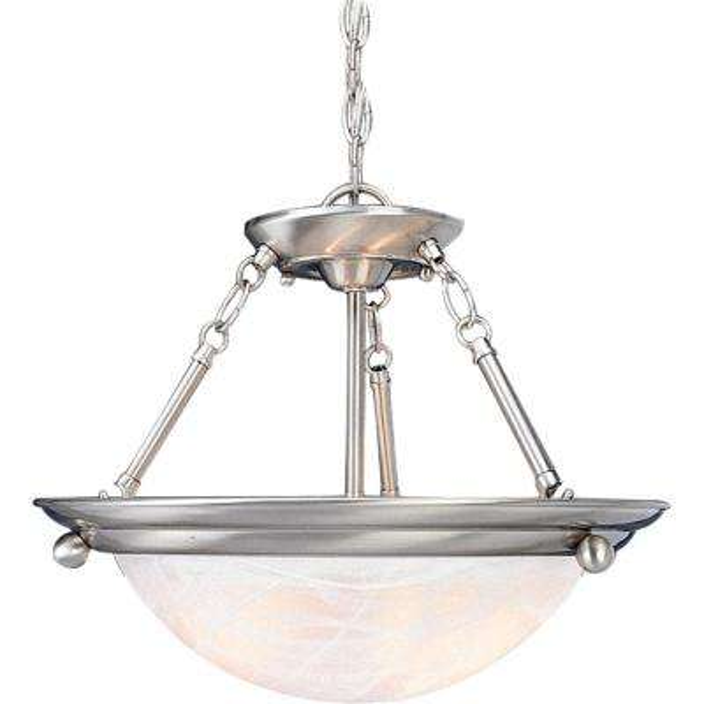Lunar 3-Light Indoor Brushed Nickel Convertible Hanging Pendant (Semi-Flush) with Alabaster Glass Bowl