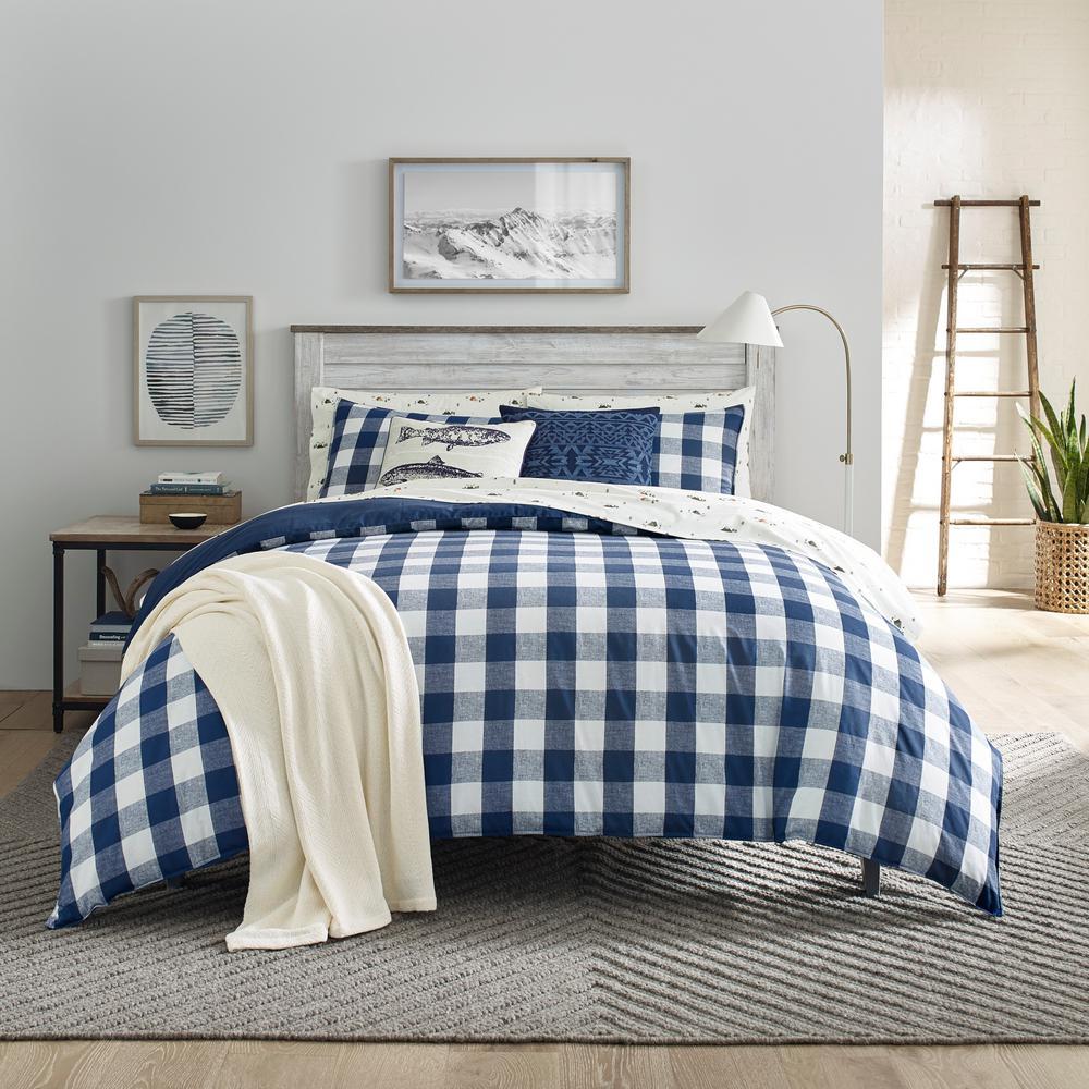 Lakehouse Plaid Blue 3-Piece King Cotton Duvet