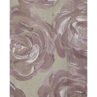 """16 in. x 20 in. """"Closeup Rose"""" Planked Wood Wall Art Print"""