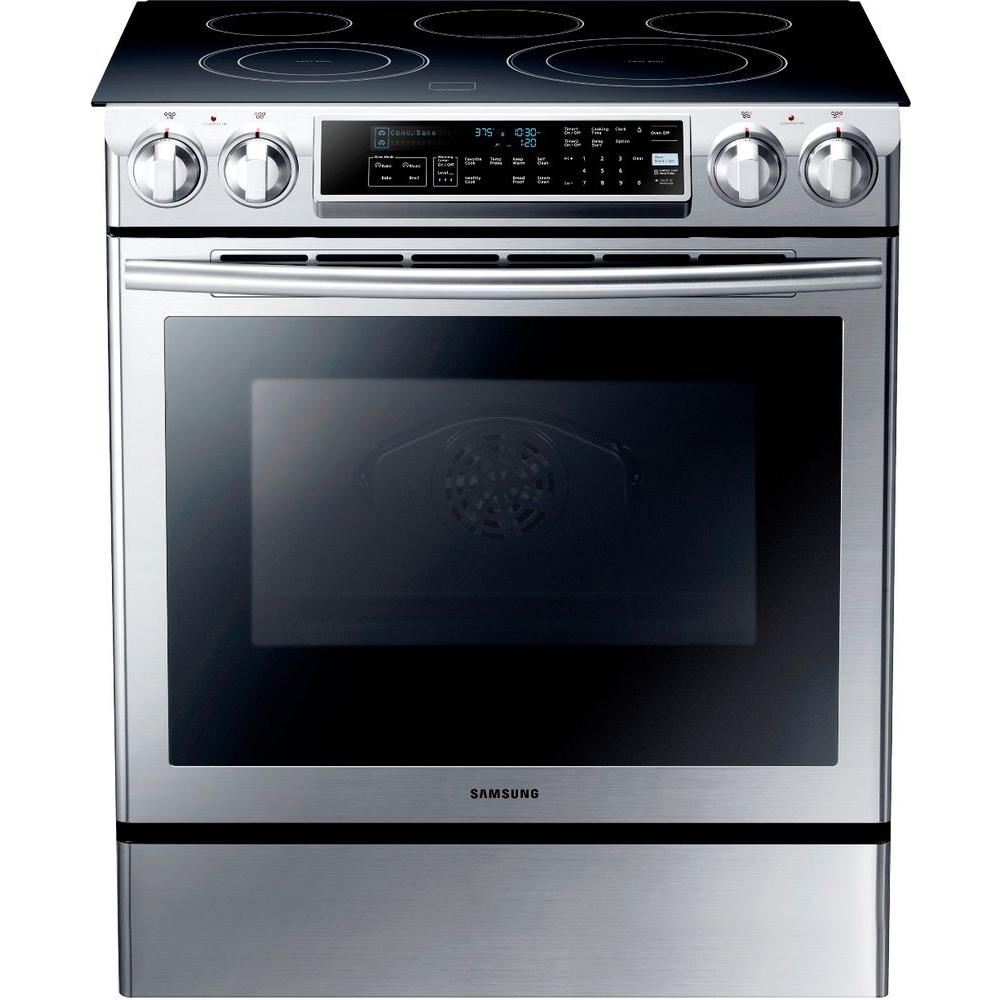 Samsung 5.8 cu. ft. Slide-In Electric Range with Self-Cleaning Dual Convection Oven in Stainless Steel