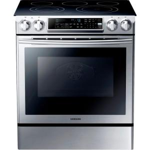 Samsung 5.8 cu. ft. Slide-In Electric Range with Self-Cleaning Dual Convection Oven in Stainless Steel by Samsung