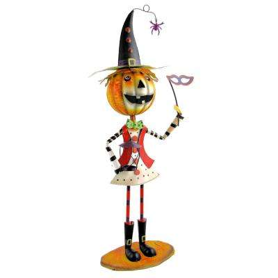 39 in. Iron Jack-O-Lantern Head Girl with Witch's Hat and Mask Halloween Yard Decoration