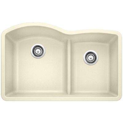 Diamond Undermount Granite Composite 32 in. 0-Hole with Low-Divide Double Bowl Kitchen Sink in Biscuit