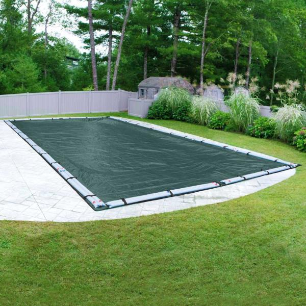 Supreme Plus 16 ft. x 36 ft. Rectangular Teal Solid In-Ground Winter Pool Cover