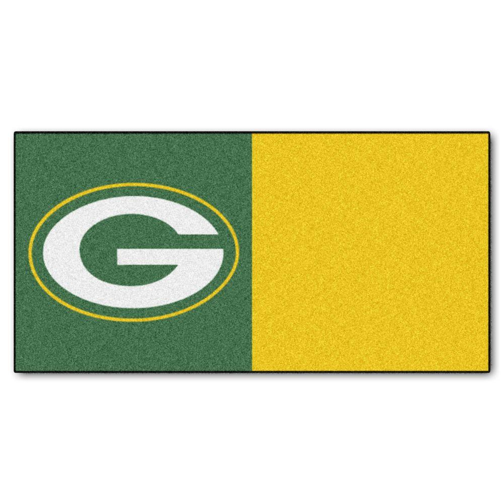 FANMATS NFL - Green Bay Packers Green and Gold Nylon 18 in. x 18 in. Carpet Tile (20 Tiles/Case)