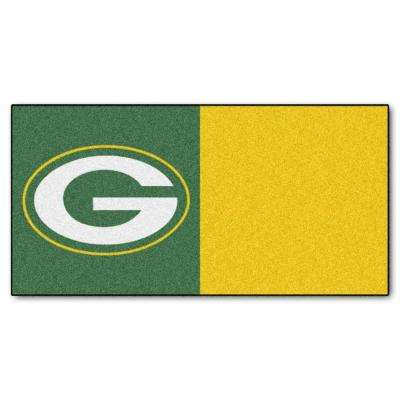 NFL - Green Bay Packers Green and Gold Nylon 18 in. x 18 in. Carpet Tile (20 Tiles/Case)