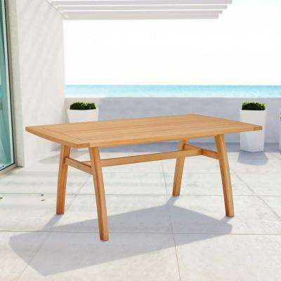 Orlean 57 in. Eucalyptus Wood Outdoor Dining Table in Natural