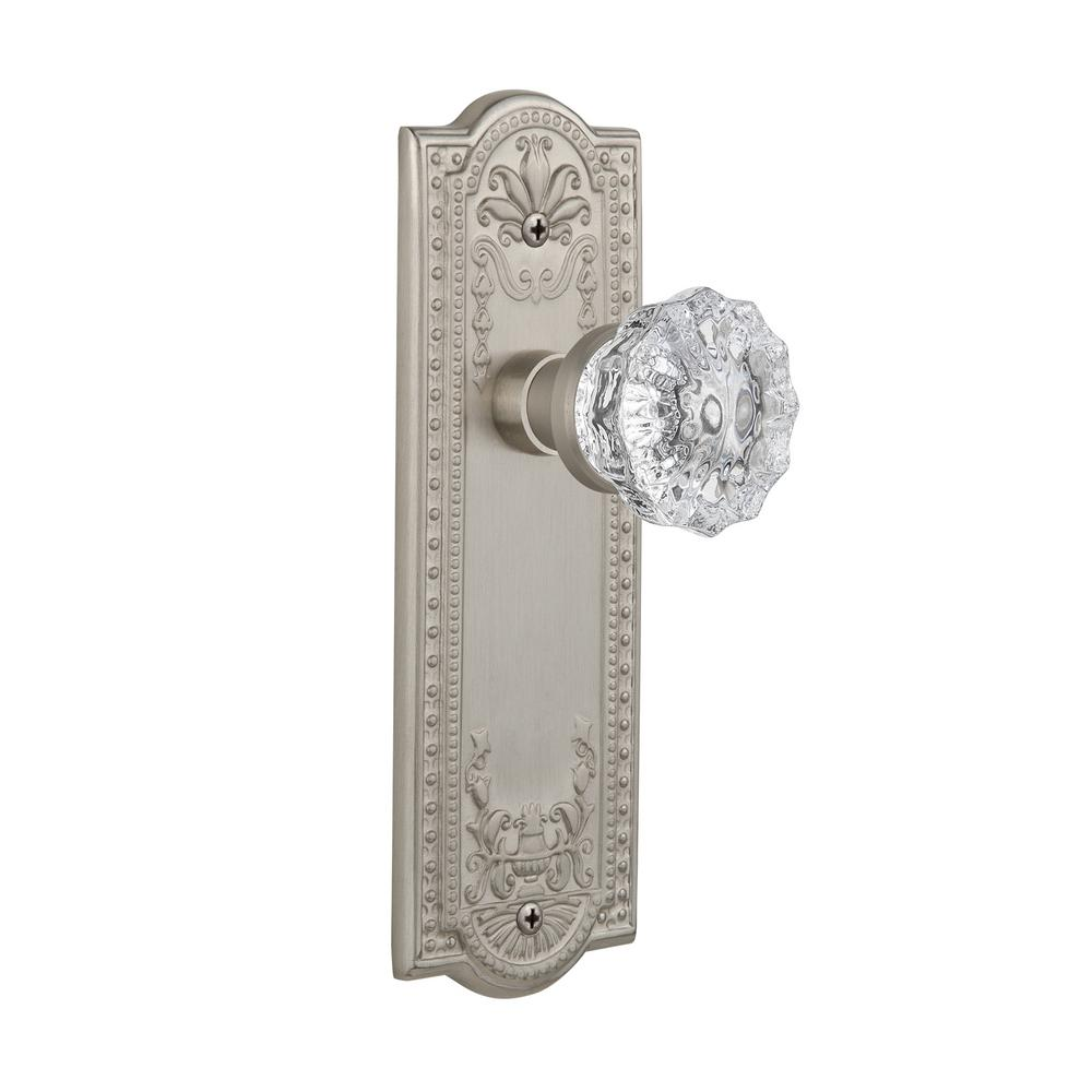 Marvelous Nostalgic Warehouse Meadows Plate Single Dummy Crystal Glass Door Knob In  Satin Nickel