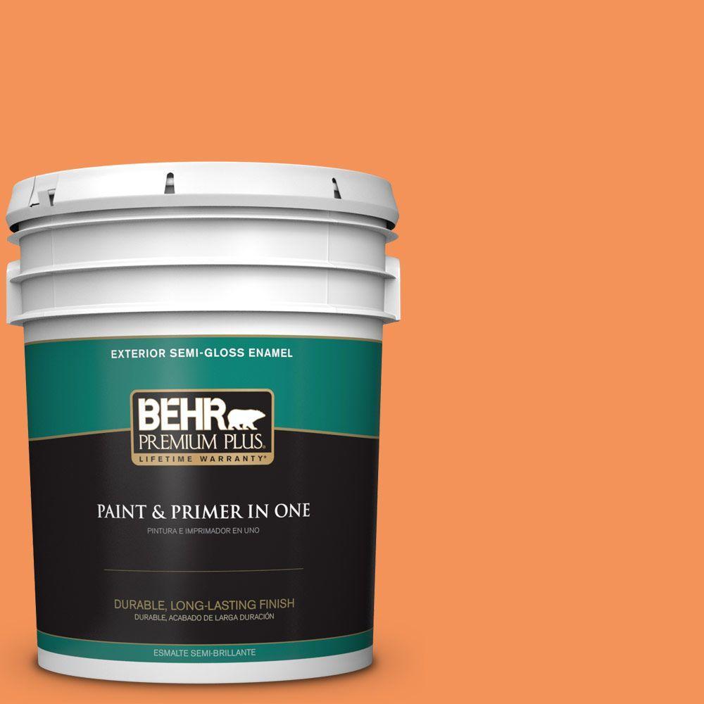 BEHR Premium Plus 5-gal. #240B-5 Candied Yam Semi-Gloss Enamel Exterior Paint