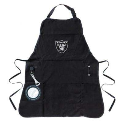 Oakland Raiders NFL 24 in. x 31 in. Cotton Canvas 5-Pocket Grilling Apron with Bottle Holder