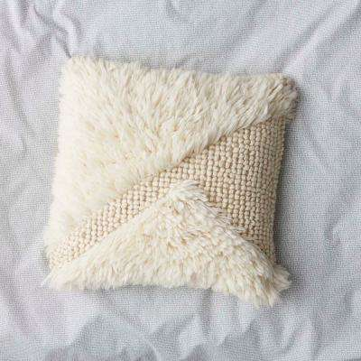 20 in. x 20 in. Ivory Woven Shag Pillow Cover