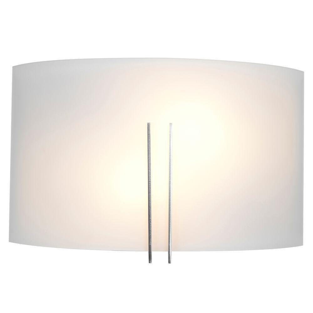 Access Lighting Prong 2-Light Stainless Steel Bath Vanity Light with WhiteGlass Shade