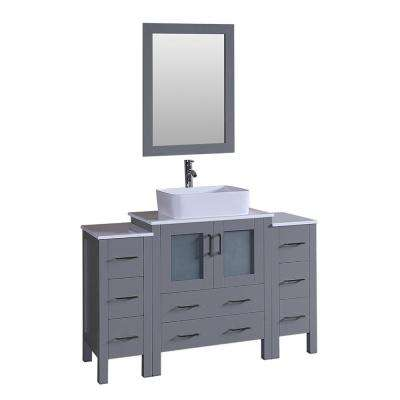 54 in. W Single Bath Vanity with Pheonix Stone Vanity Top in White with White Basin and Mirror