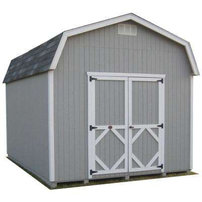 Classic Gambrel 10 ft. x 14 ft. Wood Storage Building DIY Kit with 6 ft. Sidewalls with Floor