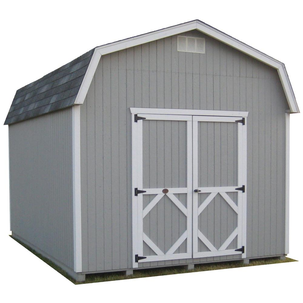 LITTLE COTTAGECO. Classic Gambrel 8 ft. x 12 ft. Wood Storage Building Precut Kit with 6 ft. Sidewalls with Floor