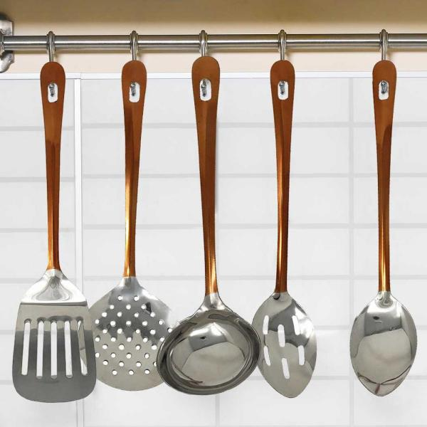 5PC STAINLESS STEEL KITCHEN UTENSIL SET LADLE SKIMMER SLOTTED SPOON COOKING TOOL