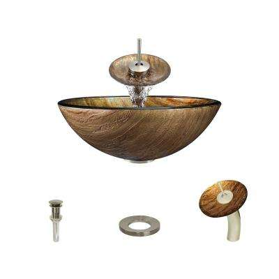 Glass Vessel Sink in Golden Bronze Foil Undertone with Waterfall Faucet and Pop-Up Drain in Brushed Nickel