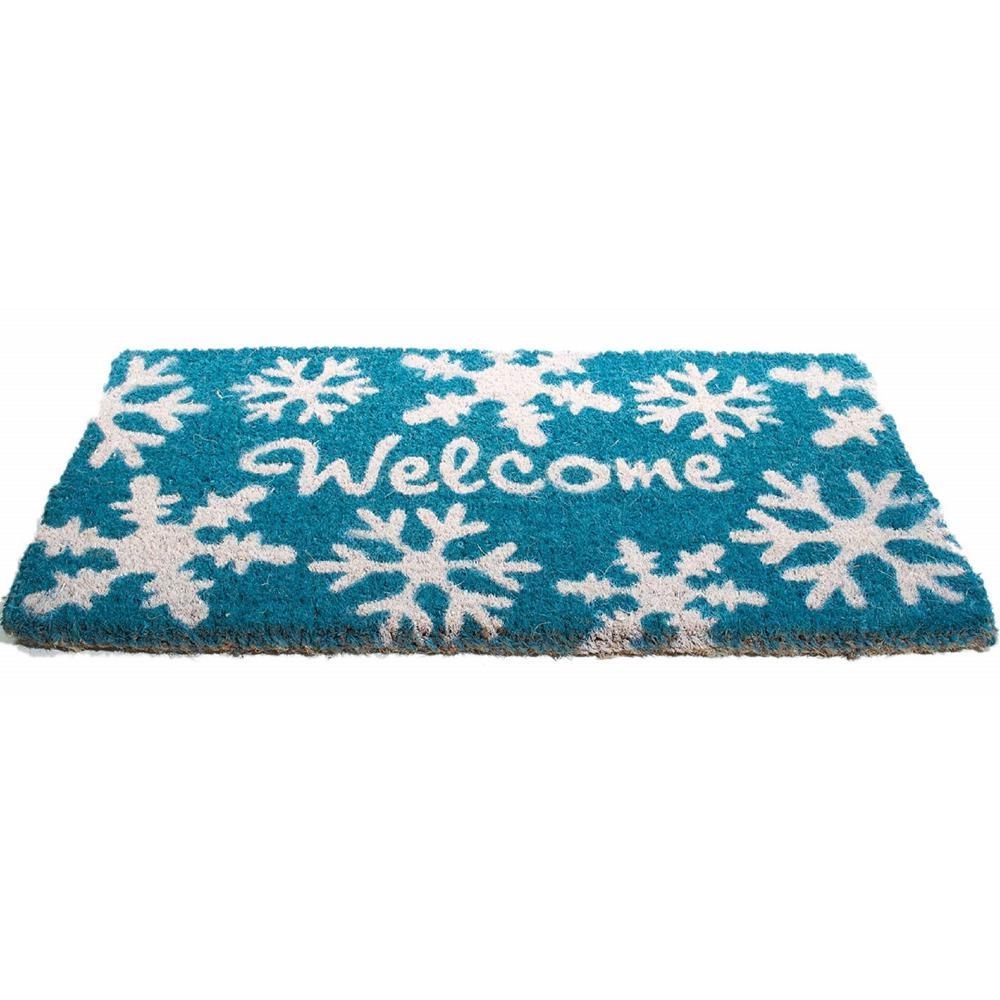 Basic Coir, Welcome Snow Flakes, 30 in. x 18 in. Coconut Husk Door Mat