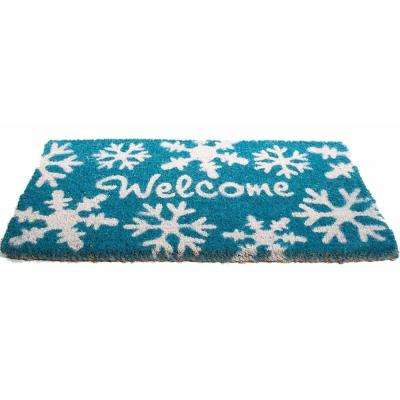 Basic Coir, Welcome Snow Flakes, 30 in. x 18 in. Coconut Husk Door Mat