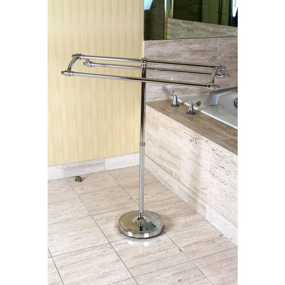 Kingston Brass Pedestal Round Plate Towel Rack in Chrome