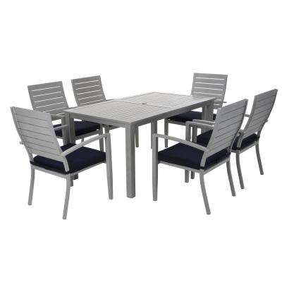 Blue Veil 7-Piece Aluminum Outdoor Dining Set with Navy Cushions