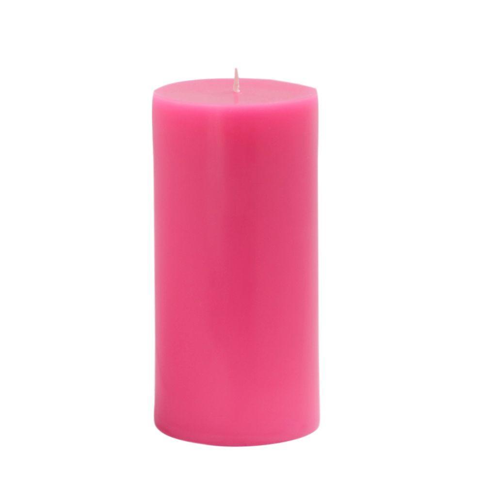 3 in. x 6 in. Hot Pink Pillar Candles Bulk (12-Case)