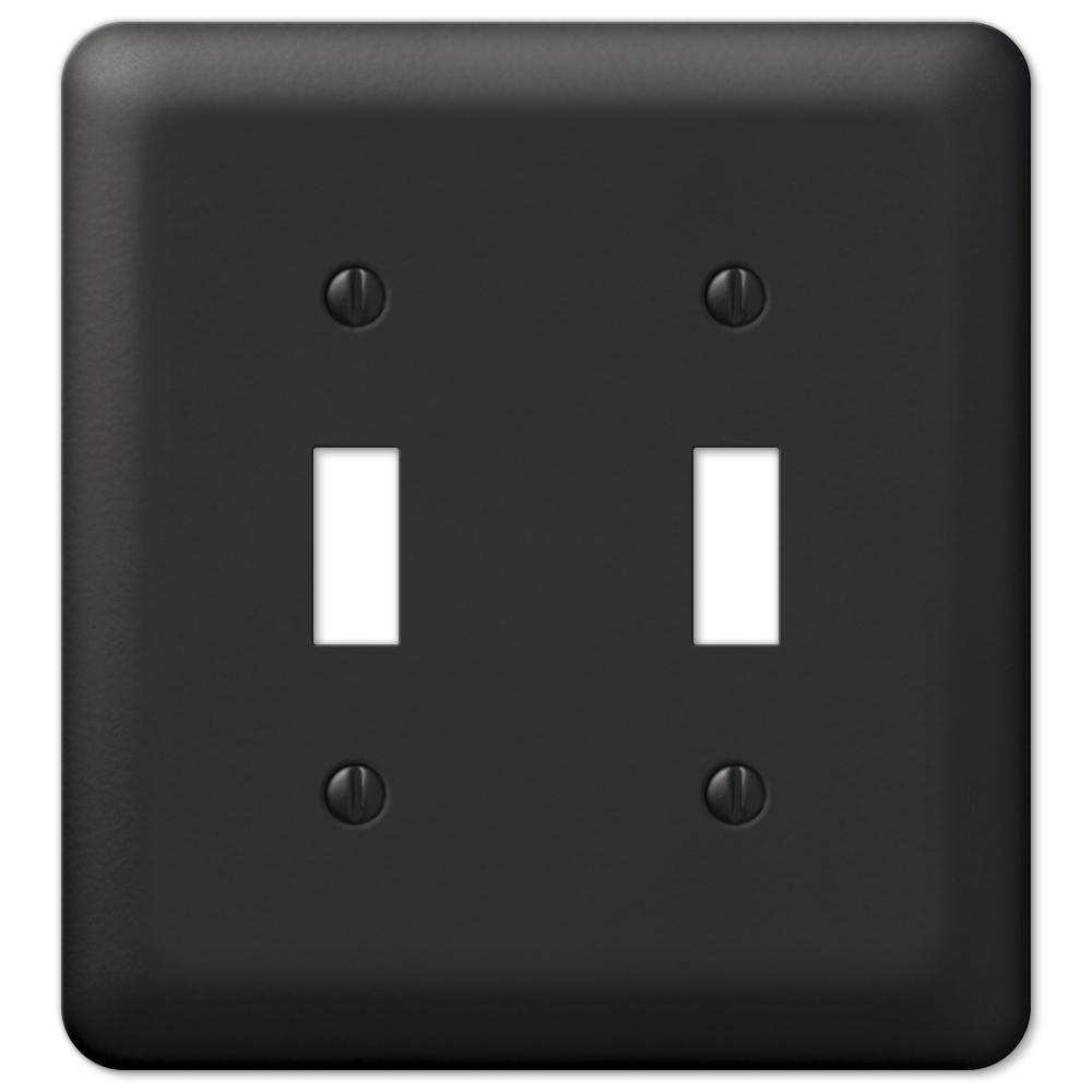Declan 2 Gang Toggle Steel Wall Plate - Black