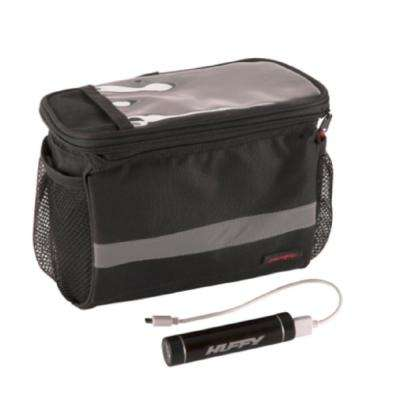 Smartphone Black Handlebar Bag with Cooler and Power Pack