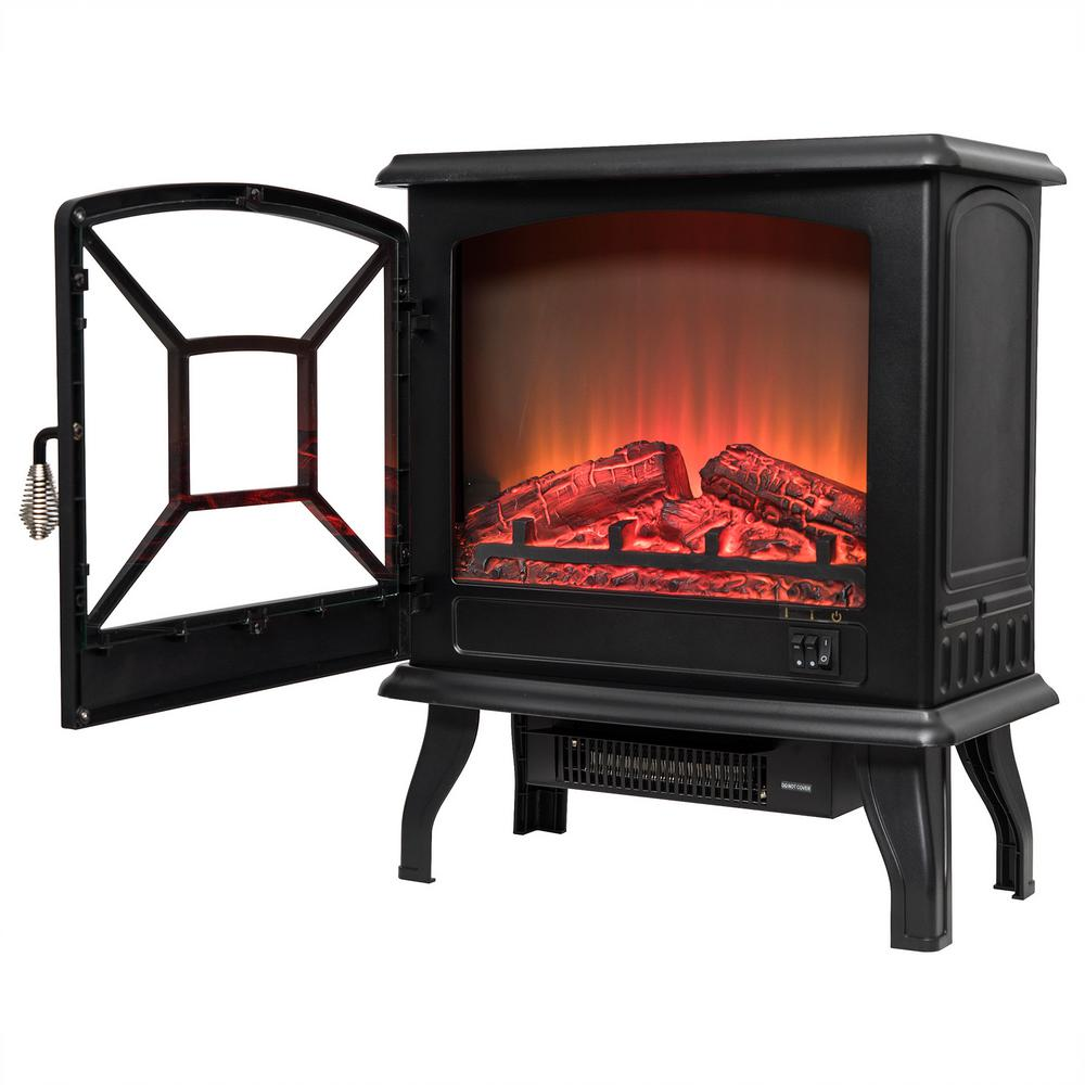 20 in. Freestanding Electric Fireplace Heater in Black with Tempered Glass